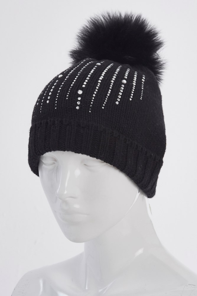 047a01a7450 Marini Silvano Linear Crystal Fur Pom Pom Hat Black. 0 (Be the first to add  a review!)